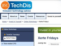 Xerte Friday page on TechDis website